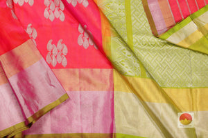 body and pallu of peach  kanjivaram pure silk saree