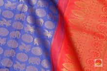 fabric detail of silk yarn in royal blue kanjivaram silk saree