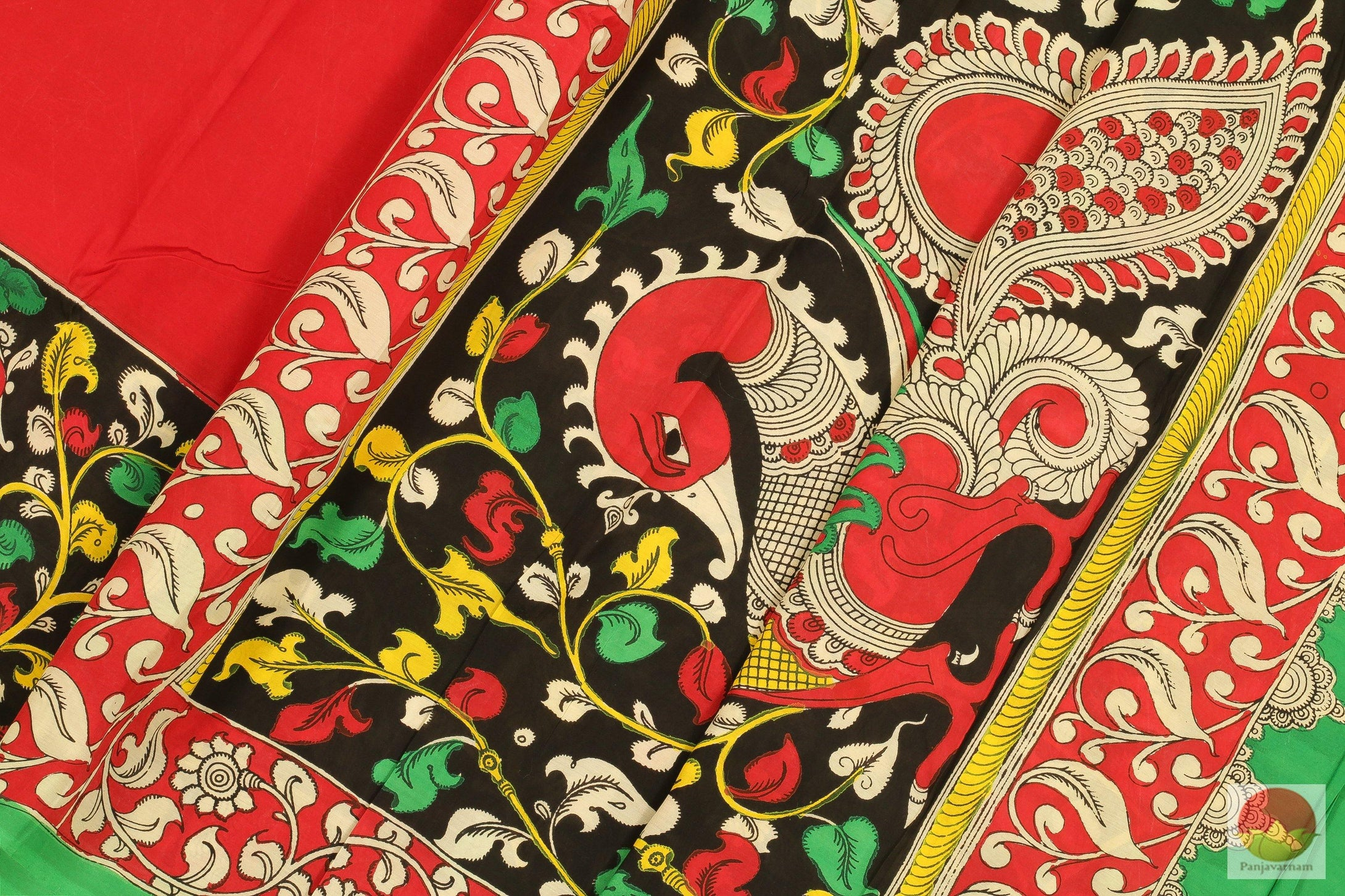 fabric detail of kalamkari silk saree