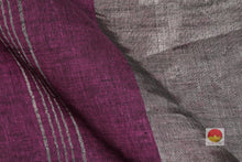 Load image into Gallery viewer, fabric detail of yarn in maroon linen saree