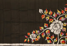 pleats section of batik silk saree