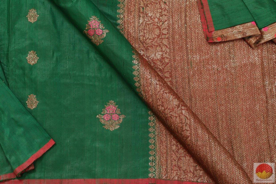 fabric detail of banarasi tussar silk saree