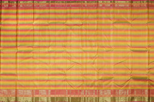 multicolour stripes handwoven kanjivaram silk saree