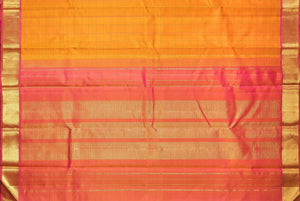 pallu detail of traditional design yellow kanjivaram pure silk saree
