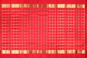 full saree view of red pure silk kanjivaram saree