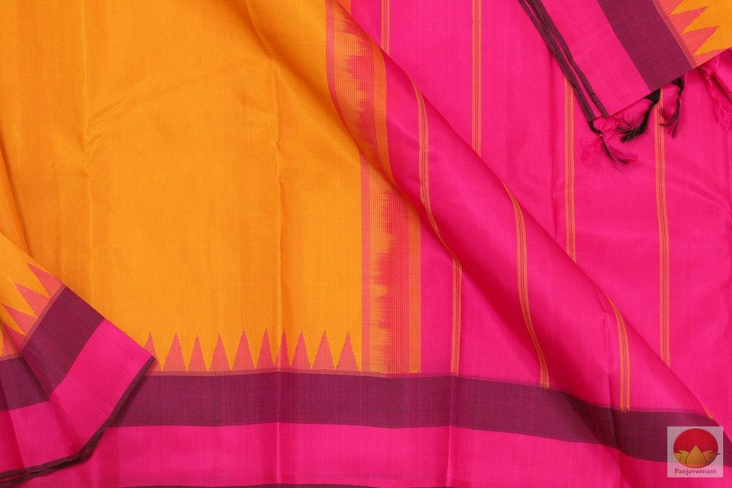Kanchipuram Silk Saree - Handwoven Pure Silk - Temple Korvai Border - PV G 4206