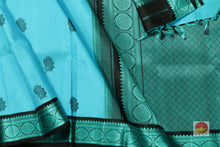 Ananda Blue and Black Handwoven Pure Silk Kanjivaram Saree - Silk Thread Work - PV 319 Archives