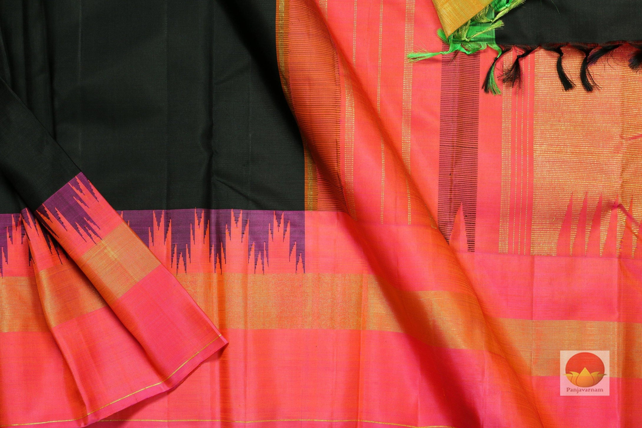 body, border and pallu of black kanjivaram pure silk saree