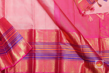 body, border and pallu of pink kanjivaram pure silk saree