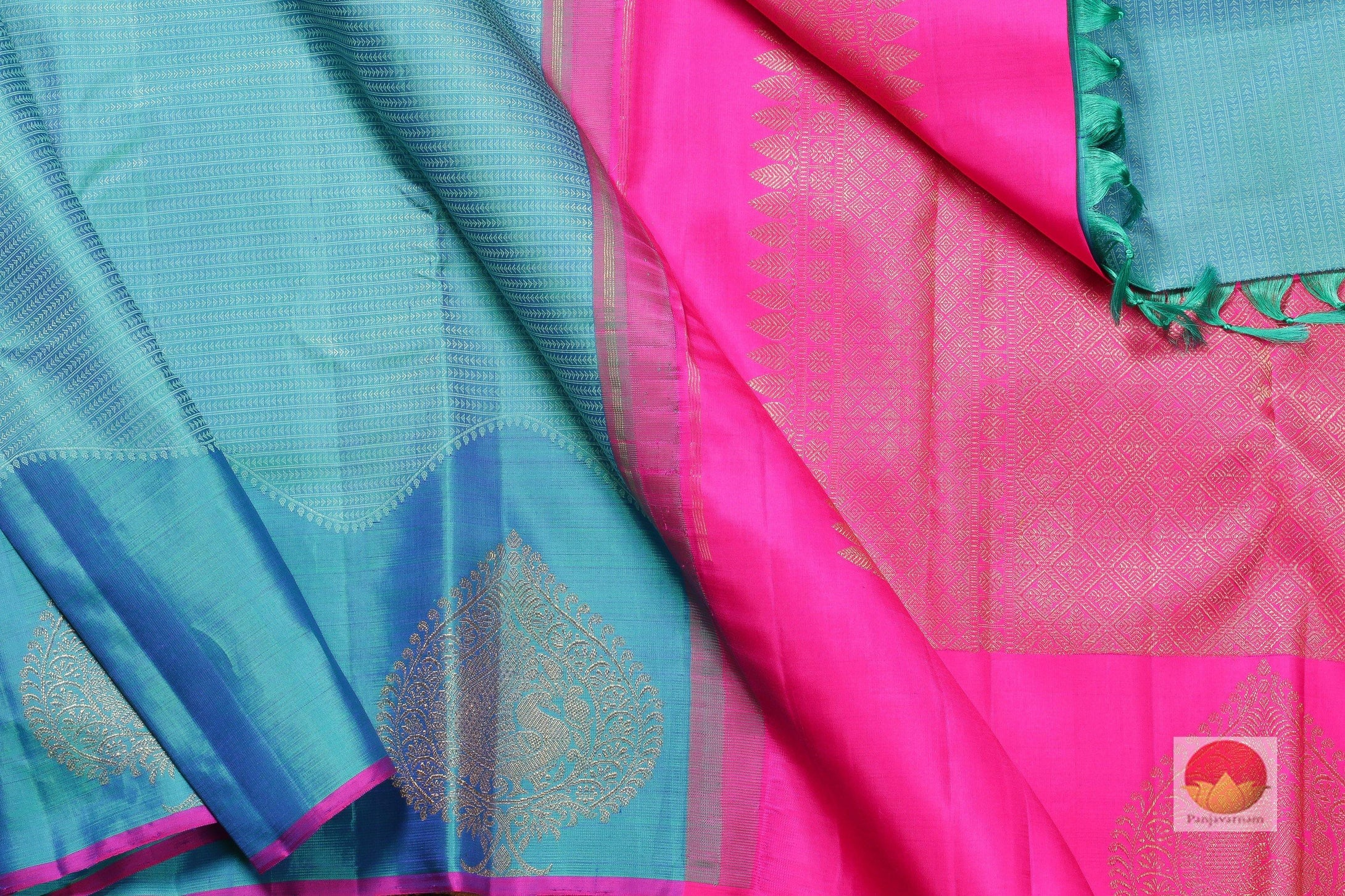 body, border and pallu of ananda blue kanjivaram pure silk saree