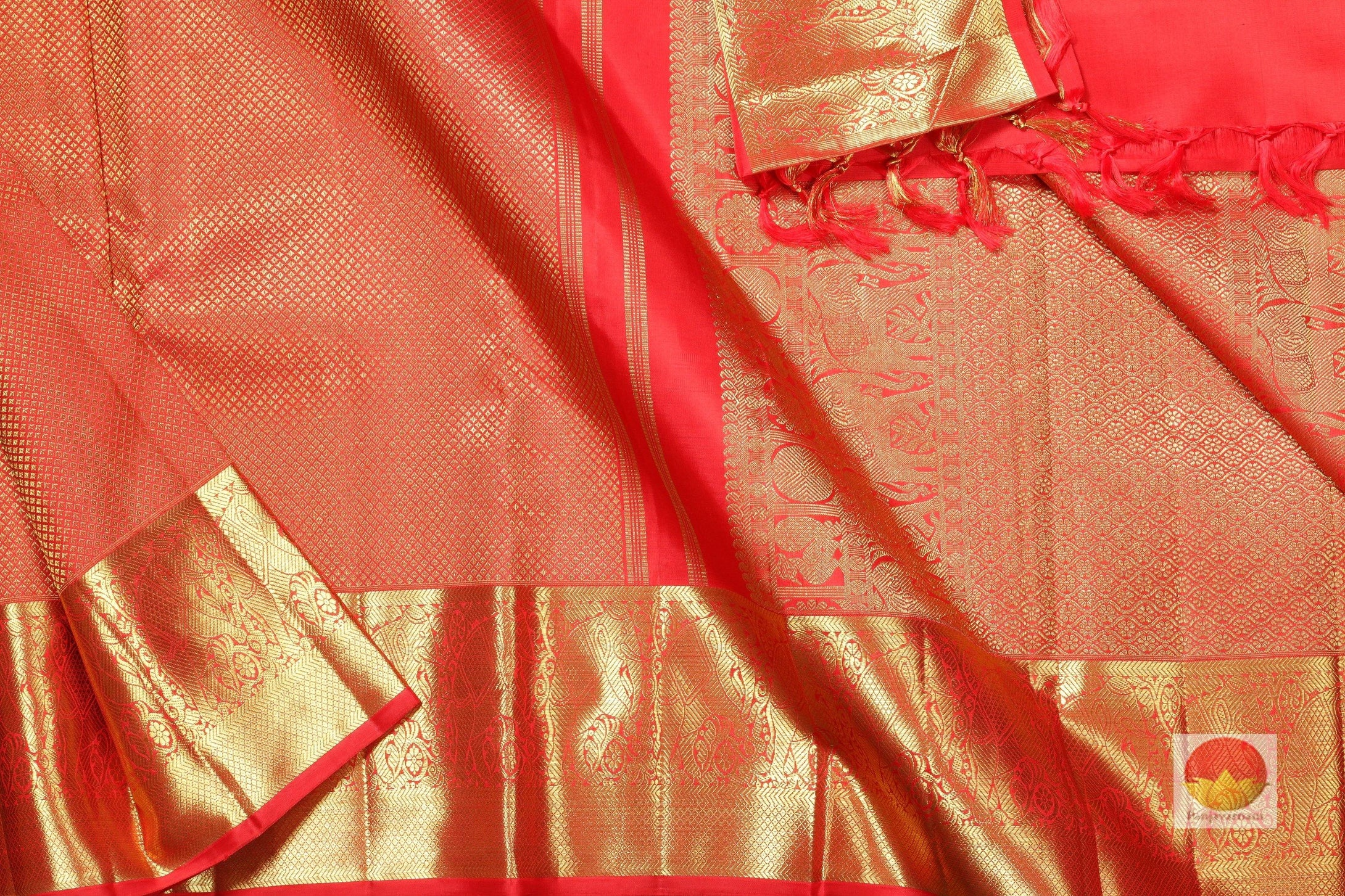 body, border and pallu of orange kanjivaram pure silk saree
