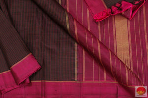 Black & Magenta - Handwoven Kanchipuram Silk Saree - Pure Zari - PV G 4164