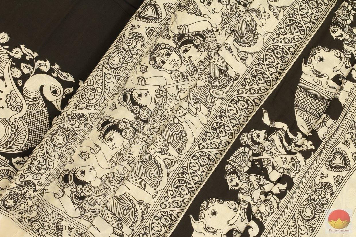 body and pallu of kalamkari saree