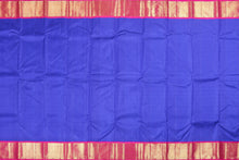Body of blue and pink traditional design kanjivaram pure silk saree