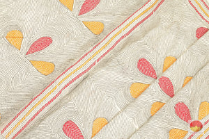 body and pallu of kantha work tussar silk saree