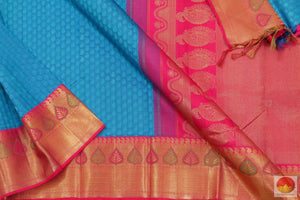 Blue & Pink - Kanchipuram Silk Saree - Handwoven Pure Silk Jacquard - Pure Zari - PV G 4121 Archives