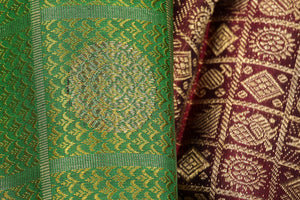 fabric texture of traditional design kanjivaram silk saree