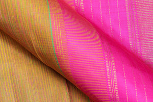 fabric detail of gold zari and silk yarn in pink kanjivaram silk saree