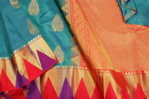 Drape of body and pallu of kanjivaram silk saree