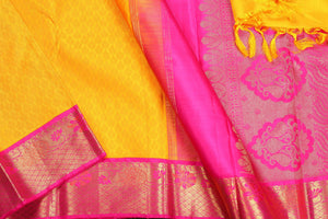 body and border of yellow kanjivaram pure silk saree
