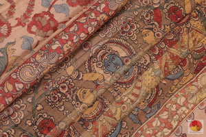 fabric detail of kalamkari tussar silk saree