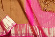 body and pallu of mustard kanjivaram pure silk saree