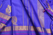 Traditional design kanjivaram pure silk saree in blue