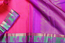 Load image into Gallery viewer, PINK and purple pure silk kanjivaram saree
