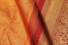 Load image into Gallery viewer, fabric detail of silk yarn in  kanjivaram silk saree