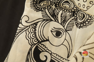 Handpainted Monochrome Kalamkari Silk Saree - Organic Colours - PKM 226 Archives