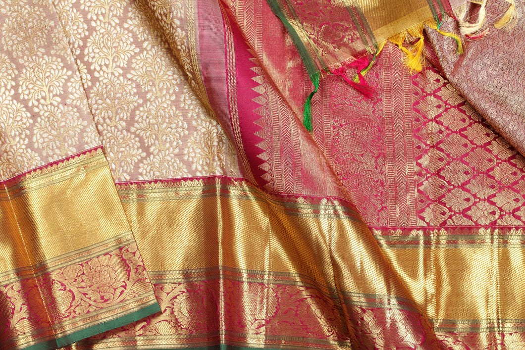 body and border of beige bridal  kanjivaram pure silk saree