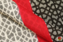 fabric detail of pochampally linen ikkat silk saree