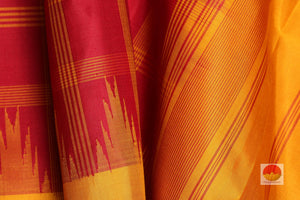 temple border detail of in  kanjivaram silk saree