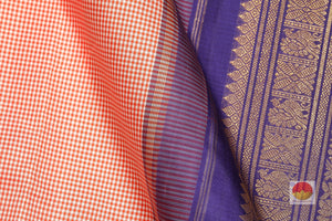 fabric detail of silk yarn in checked kanjivaram silk saree