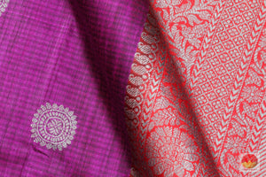 fabric detail of silk yarn in matka silk saree