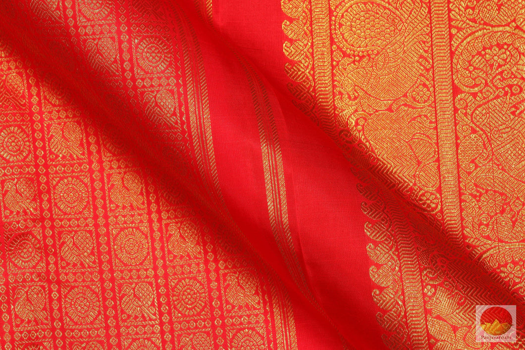 Traditional Design - Handwoven Pure Silk Kanjivaram Saree - Pure Zari - PV SVS 12080