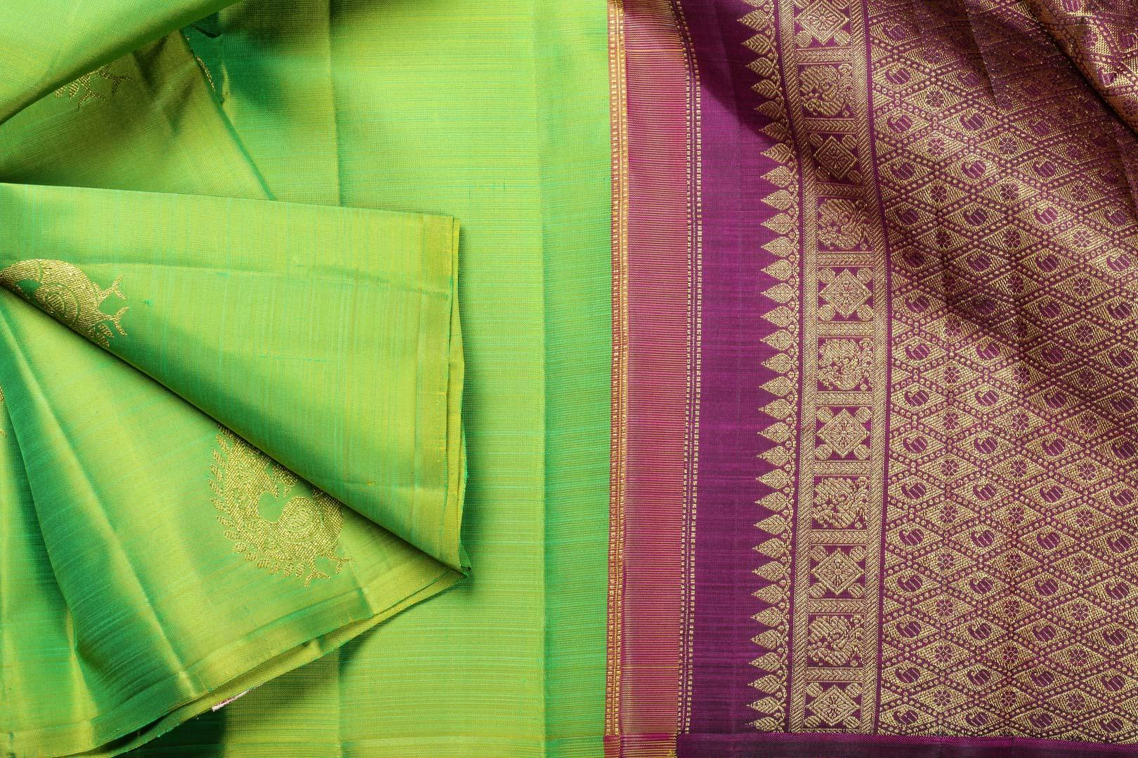 Parrot green and maroon kanjivaram silk saree