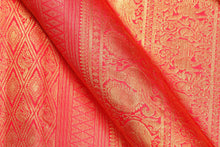 Traditional design BRIDAL SAREE kanjivaram pure silk sari with  gold zari checks
