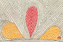 design detail of kantha work tussar silk saree