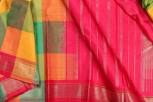 pure silk saree with multicolour checks