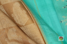 fabric detail of silk yarn in borderless kanjivaram silk saree