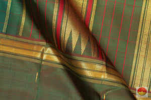 Mubbagam - Traditional Design Handwoven Pure Silk Kanjivaram Saree - Pure Zari - PV 1852