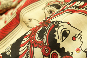 fabric texture of kalamkari silk saree