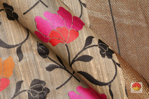 fabric detail of yarn in banarasi tussar pure silk saree