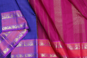 Traditional design Kanjivaram silk saree with MS Blue body
