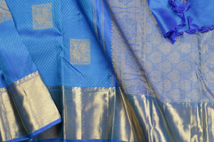 body and border detail of blue jacquard silk  kanjivaram silk saree