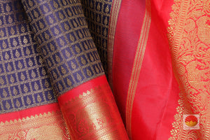 fabric detail of silk yarn in blue kanjivaram silk saree