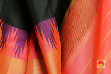 Load image into Gallery viewer, fabric detail of silk yarn in black  kanjivaram silk saree