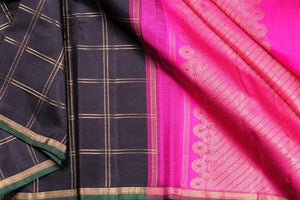Black and pink kanjivaram silk saree