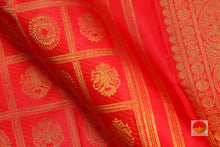 Load image into Gallery viewer, fabric detail of silk yarn in kumkuma red kanjivaram pure silk saree